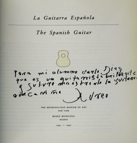 Dedicatoria de Áureo (Madrid año 1993)