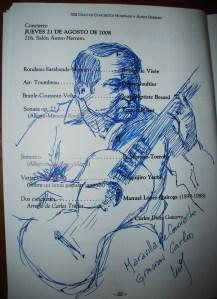 Dibujo de Luis Sobrino después del recital de 2008